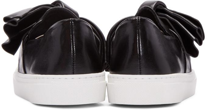 CdricCharlierBlackLeatherBowSlipOnSneakers