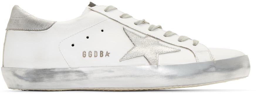 GoldenGooseWhiteSparkleSuperstarSneakers