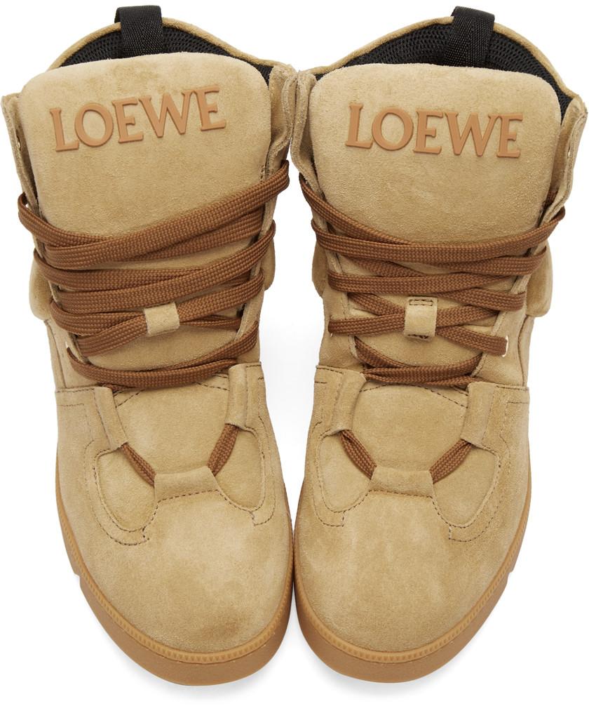LoeweCamelSuedeHighTopSneakers