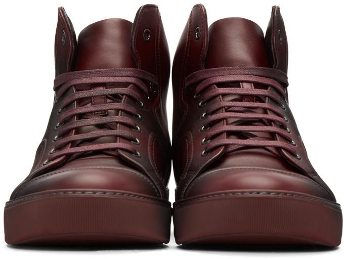 LanvinRedLeatherMidTopSneakers