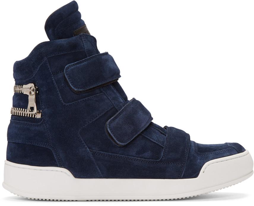 BalmainNavySuedeVelcroHighTopSneakers