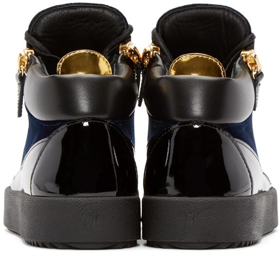 GiuseppeZanottiNavyVelvetLondonHighTopSneakers