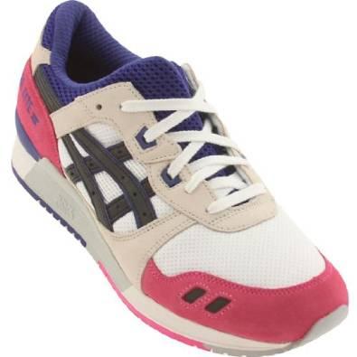 亚瑟士Asics胶Lyte III男式复古跑鞋Model H301N 0190 (白粉色/白紫色)