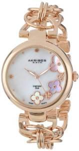 阿克波斯Akribos XXIV女式钻石瑞士石英机芯钻石珍珠贝母玫瑰金链条腕表AK645RG