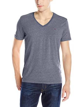 汤米·希尔费格Tommy Hilfiger牛仔男式Original MelangeV领短袖T恤
