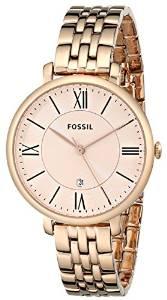 化石Fossil女式ES3435 Jacqueline三指针不锈钢手表-玫瑰金色