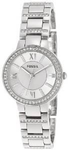 化石Fossil女式ES3282 Virginia三针不锈钢手表-银色