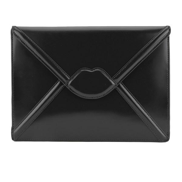 Lulu Guinness女式Catherine大号红唇信封包手拿包-黑色