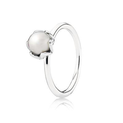 白色淡水珍珠银色戒指- PANDORA