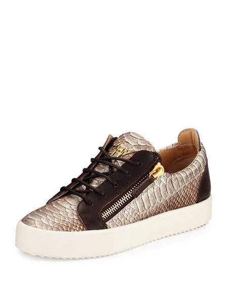 朱塞佩·萨诺第Giuseppe Zanotti Maylondon蛇纹侧拉链运动鞋Brown / Multi