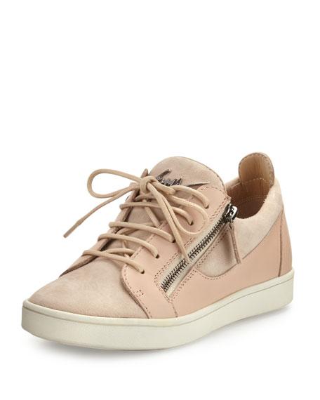 朱塞佩·萨诺第Giuseppe Zanotti Breck麂皮侧拉链运动鞋Pallido