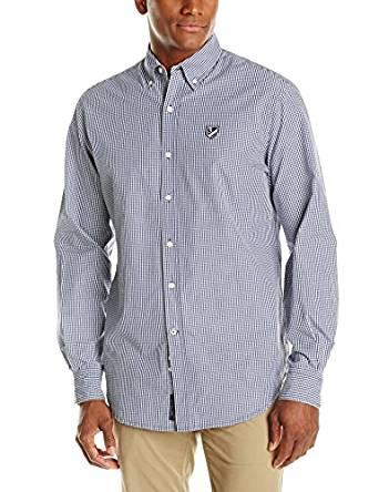 U.S. Polo Assn.男式府绸格子长袖运动衬衣