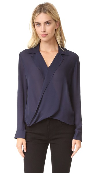 L'AGENCE Rita垂褶正面女式衬衫