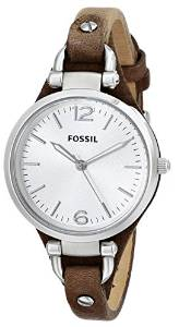 化石fossil Fossil女式ES3060 Georgia三针Tan皮质表带手表