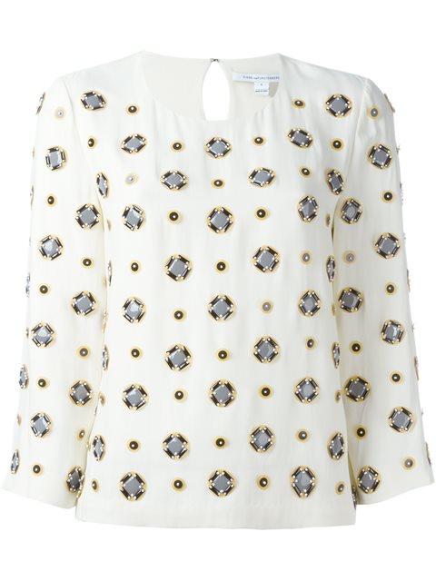 黛安·冯芙丝汀宝Dvf Diane Von Furstenberg镶嵌七分袖罩衫(女款)