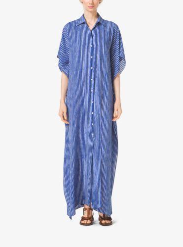 迈克·科尔斯Michael Kors Mariner条纹Silk-Georgette宽松衫