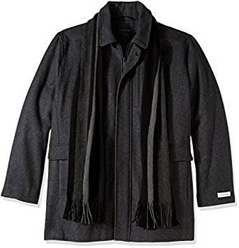 Calvin Klein男式Big & Tall羊毛外套带围巾套装