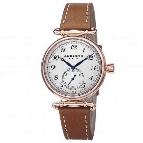 阿克波斯Akribos XXIV白色表盘玫瑰金色女式手表