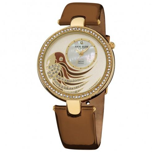 阿克波斯Akribos XXIV钻石Parrot表盘瑞士石英机芯皮质Strap女式手表