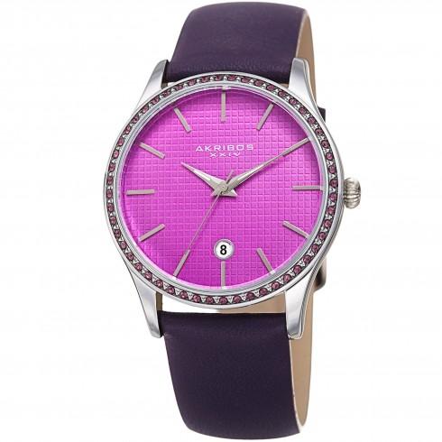 阿克波斯Akribos XXIV紫色表盘皮质女式手表