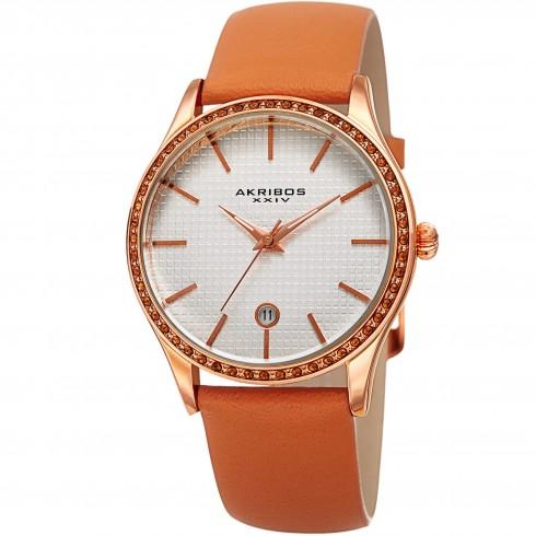阿克波斯Akribos XXIV银色表盘Tangerine皮质女式手表
