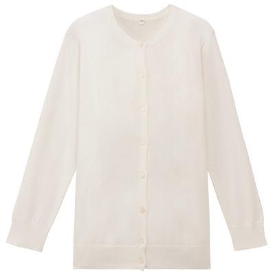 无印良品MUJI オーガニックコットン強撚UVカットクルーネックカーディガン(七分袖) 婦人S・白