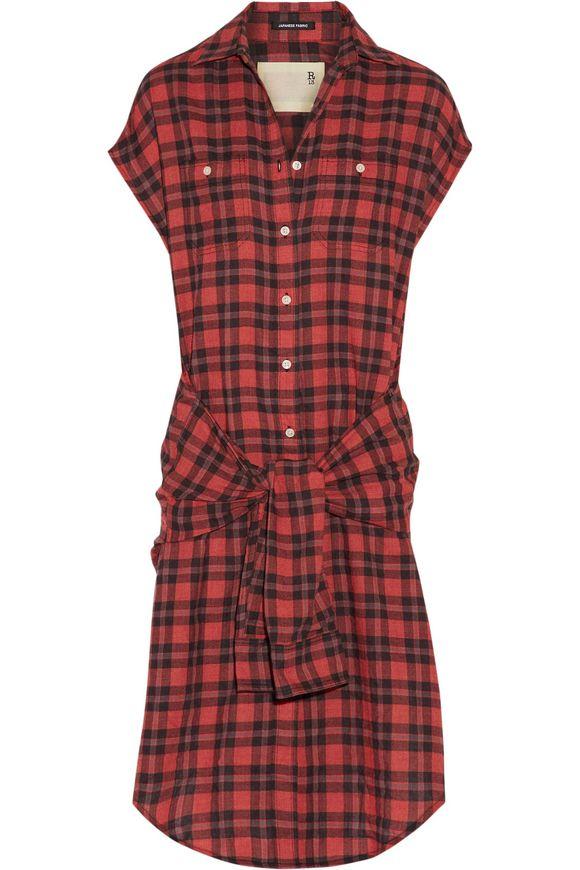 R13 Tie-front格子法兰绒衬衫裙