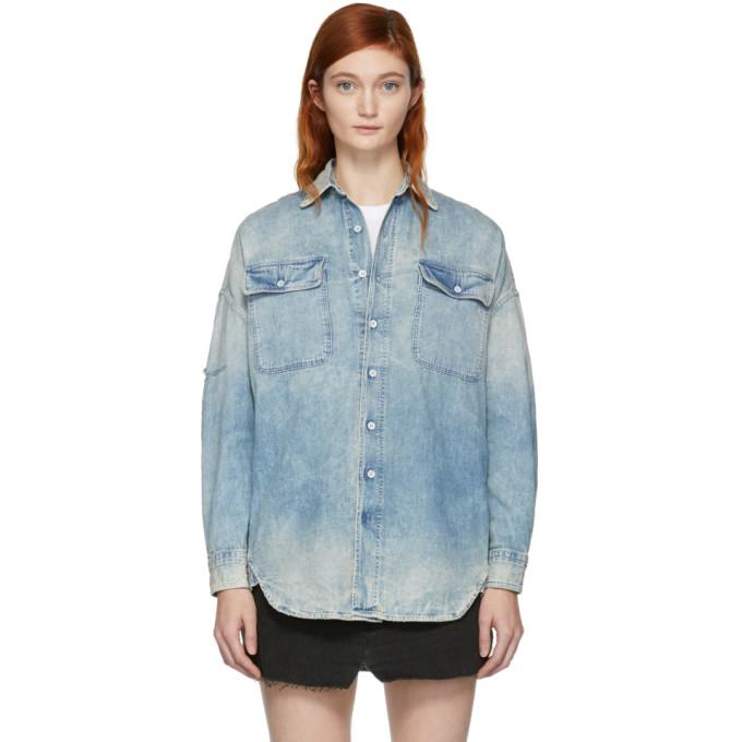 R13靛蓝色X-Oversized牛仔衬衣