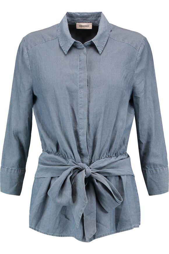 L'AGENCE Colette tie-front charmeuse衬衣