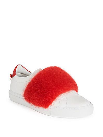 纪梵希Givenchy Urban Street貂皮毛&皮质低帮运动鞋
