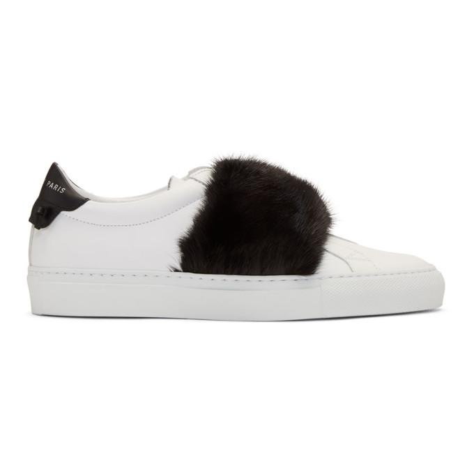 纪梵希Givenchy白色&黑色貂皮Urban Knots运动鞋