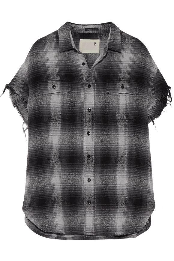 R13超大磨毛边格子棉制&夹丝混纺衬衣