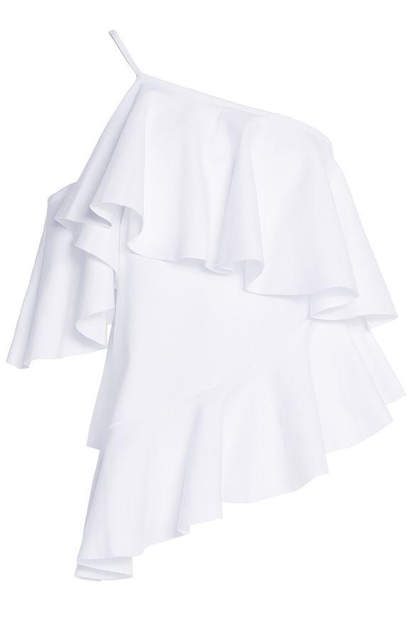 麦奎斯奥美达MARQUES ' ALMEIDA单肩荷叶边cotton-jersey top