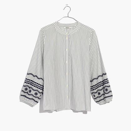 美德威尔Madewell条纹Embroidered-Sleeve衬衣