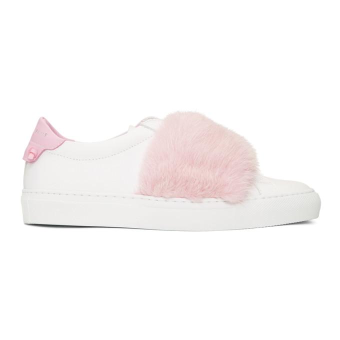 纪梵希Givenchy白色&粉色貂皮Urban Knots运动鞋