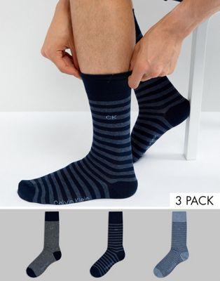 卡尔文克莱恩Calvin Klein袜子3件装礼品套装条纹(男款)