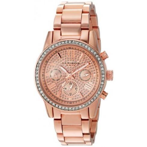 阿克波斯Akribos XXIV Lumin玫瑰金色水晶Pave表盘女式手表