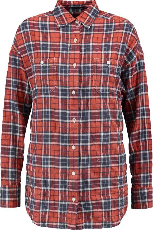 R13镂刻格子棉混纺衬衣