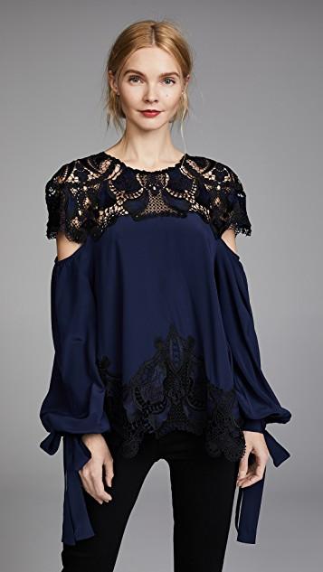 Jonathan Simkhai绉绸贴布花绣宽松束口袖女式衬衫