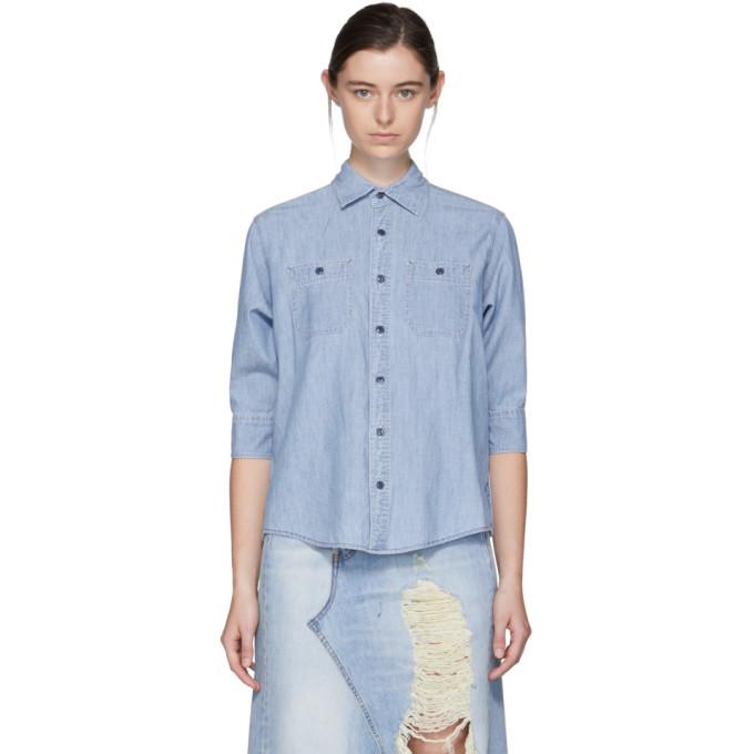 R13靛蓝色Overlap织布衬衣