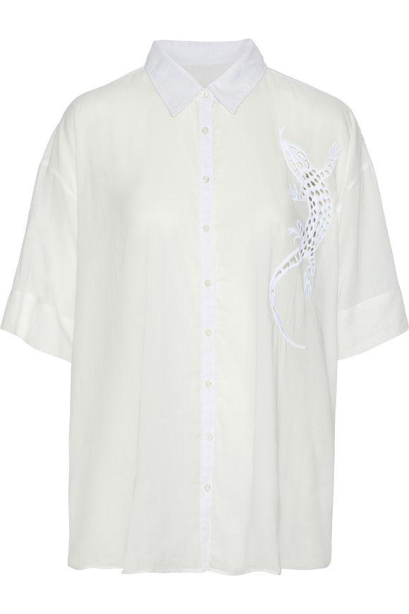3x1镂刻刺绣棉混纺voile衬衣
