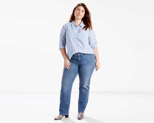 李维斯Levi's 414经典直筒牛仔裤( PLUS ) -蓝色MIXTAPE (限购产品)(女款)