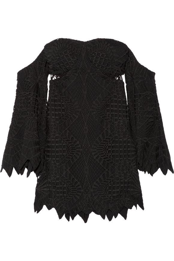 JONATHAN SIMKHAI露肩式guipure lace &绉纱top