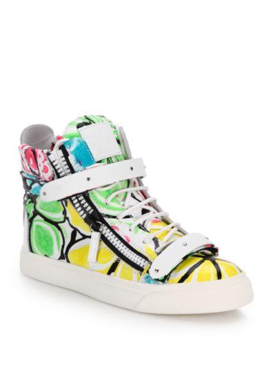 朱塞佩·萨诺第Giuseppe Zanotti Neon-Print皮质高帮拉链运动鞋