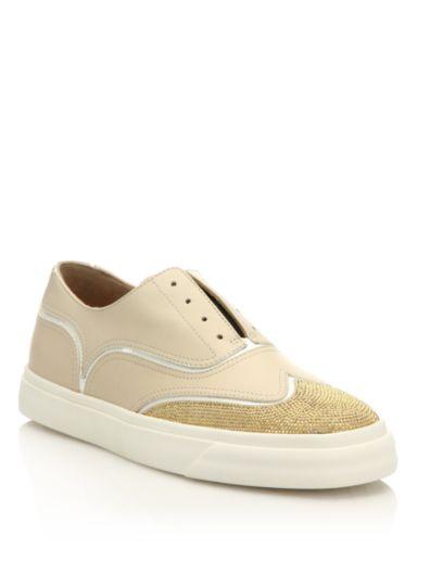 朱塞佩·萨诺第Giuseppe Zanotti铆钉皮质一脚蹬牛津运动鞋