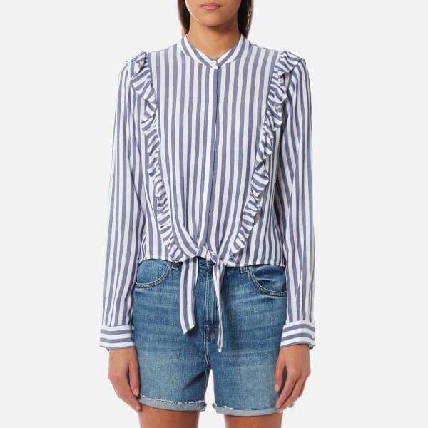 Rails女式Piper衬衣- Ocean白色条纹