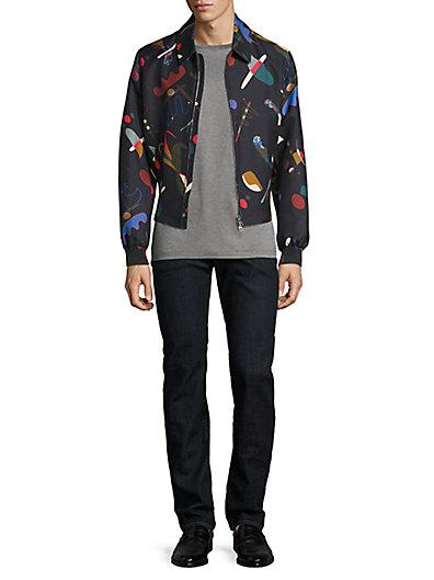 菲拉格慕Salvatore Ferragamo Runway抽象印花丝质&棉制束腰外套