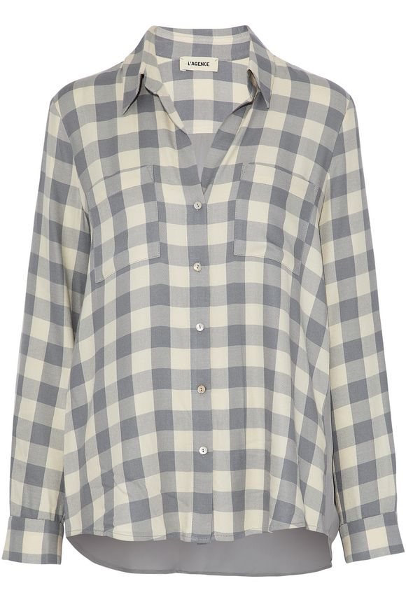 L'AGENCE丝质绉纱de chine-paneled格纹法兰绒衬衣