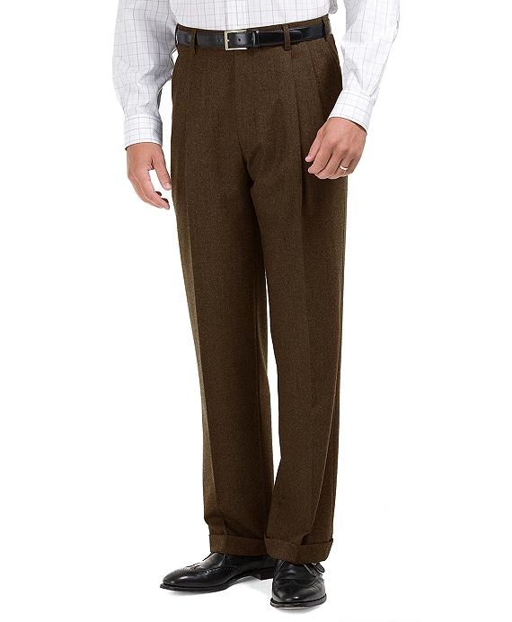 布克兄弟Madison修身打褶- Front法兰绒裤子