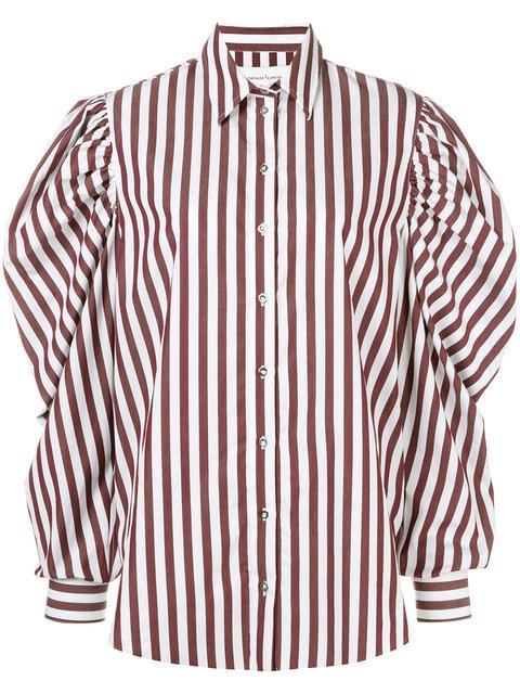 麦奎斯奥美达Marques'almeida泡泡袖条纹全棉衬衫(女款)